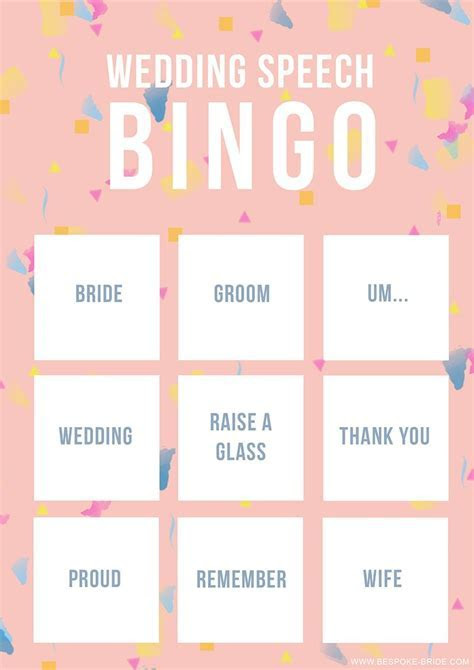 WEDDING SPEECH BINGO FREE PRINTABLE GAME   wedding   Best