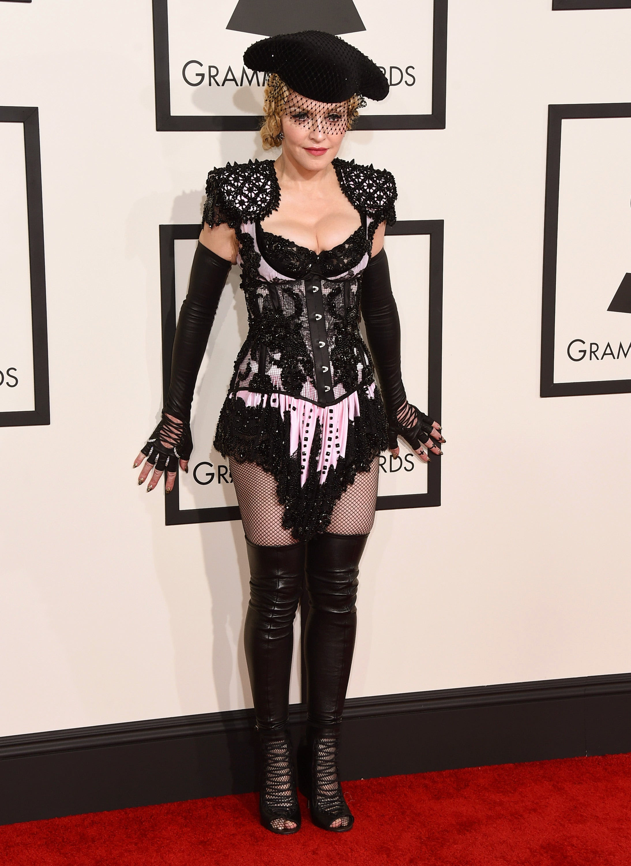 madonna wears risque outfit at grammys shows off her