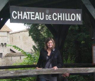 Jamie by the Chateau de Chillon sign