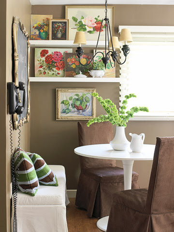 dining room with flower artwork