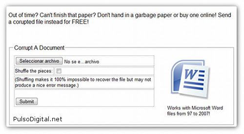 Corrompe un documento para ganar más tiempo