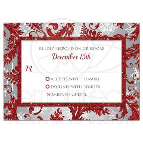 Wedding Reponse Card   Red Winter Wonderland   Silver