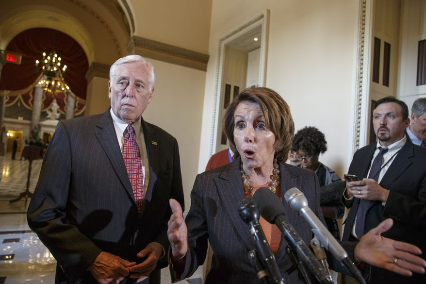 "In this Feb. 27, 2015, photo, House Democratic Leader Nancy Pelosi of Calif., accompanied by House Minority Whip Steny Hoyer of Md., voice their objections to the Republican majority during a delay in voting for a short-term spending bill for the Homeland Security Department during a news conference on Capitol Hill in Washington. Democrats didn't get all they wanted in Congress' struggle over Homeland Security, but many feel they are winning a broader political war that will haunt Republicans in 2016 and beyond. ""It's a staggering failure of leadership that will prolong this manufactured crisis of theirs and endanger the security of the American people,"" said Pelosi.  (AP Photo/J. Scott Applewhite)"
