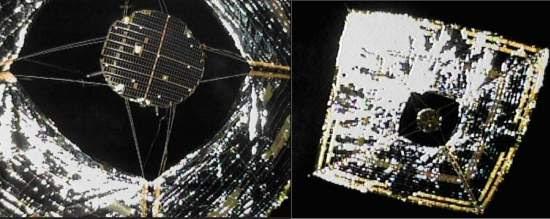 Veleiro espacial é fotografado por minicâmera
