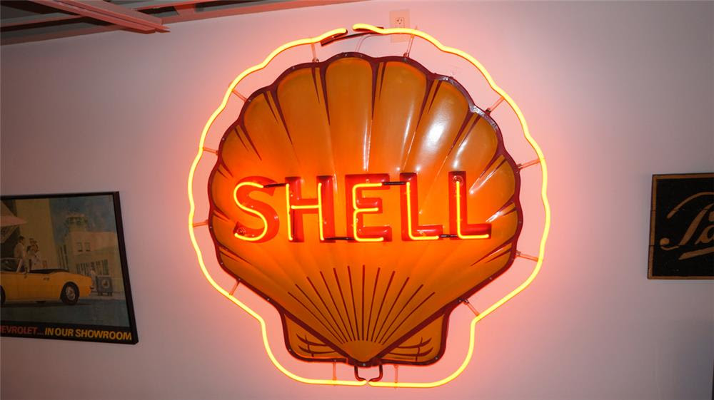 1947 Shell Oil single-sided neon porcelain clamshell shaped s - 179873