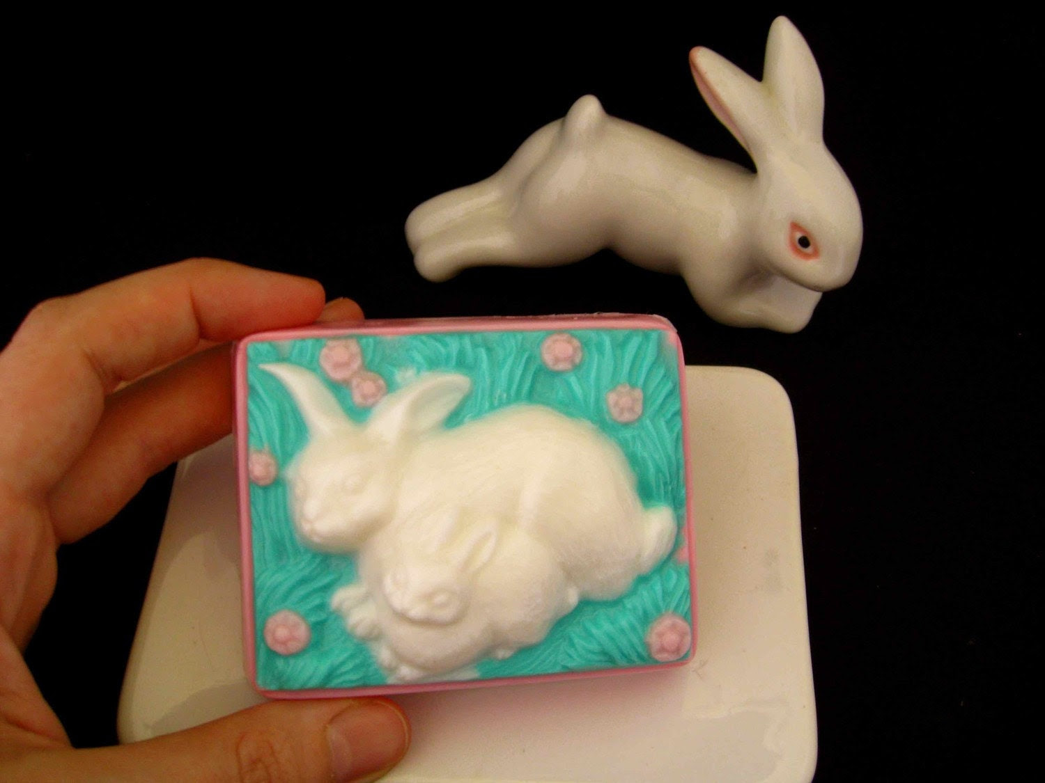 Cute Mother & Baby Bunny Rabbit Soap with Shea Butter 100% Vegan Easter Gift