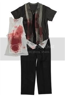 This photo supplied by Christie's auction house shows a costume worn by the character Tony Soprano, played by actor James Gandolfini in HBO's series 'The Sopranos.' The 'blood-splattered' outfit was from a scene in the first episode of Season 6 in which Uncle Junior shoots Tony in a fit of dementia. The auction house said the costume could fetch $2,000 to $3,000 when it is sold in New York on June 25 during Christie's Pop Culture auction.