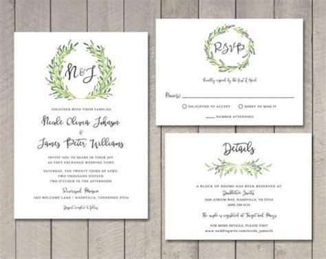 Laurel Wedding Invitation, RSVP, Details Card (Printable