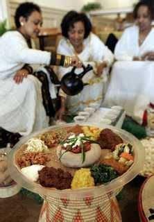 Habesha (Amhara) women take part in a gathering. injera
