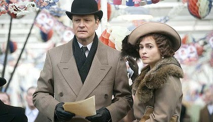Colin Firth as King George VI and Helena Bonham Carter as the Queen Mother in <i>The King's Speech</i>.