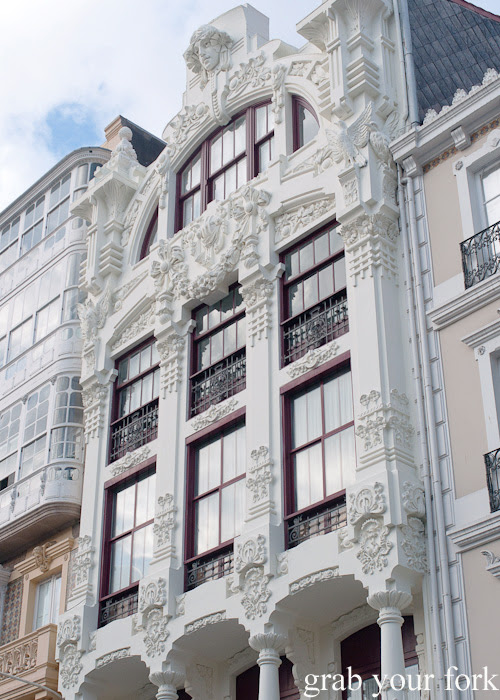 Glass-fronted balconies or galerias in A Coruna, Spain