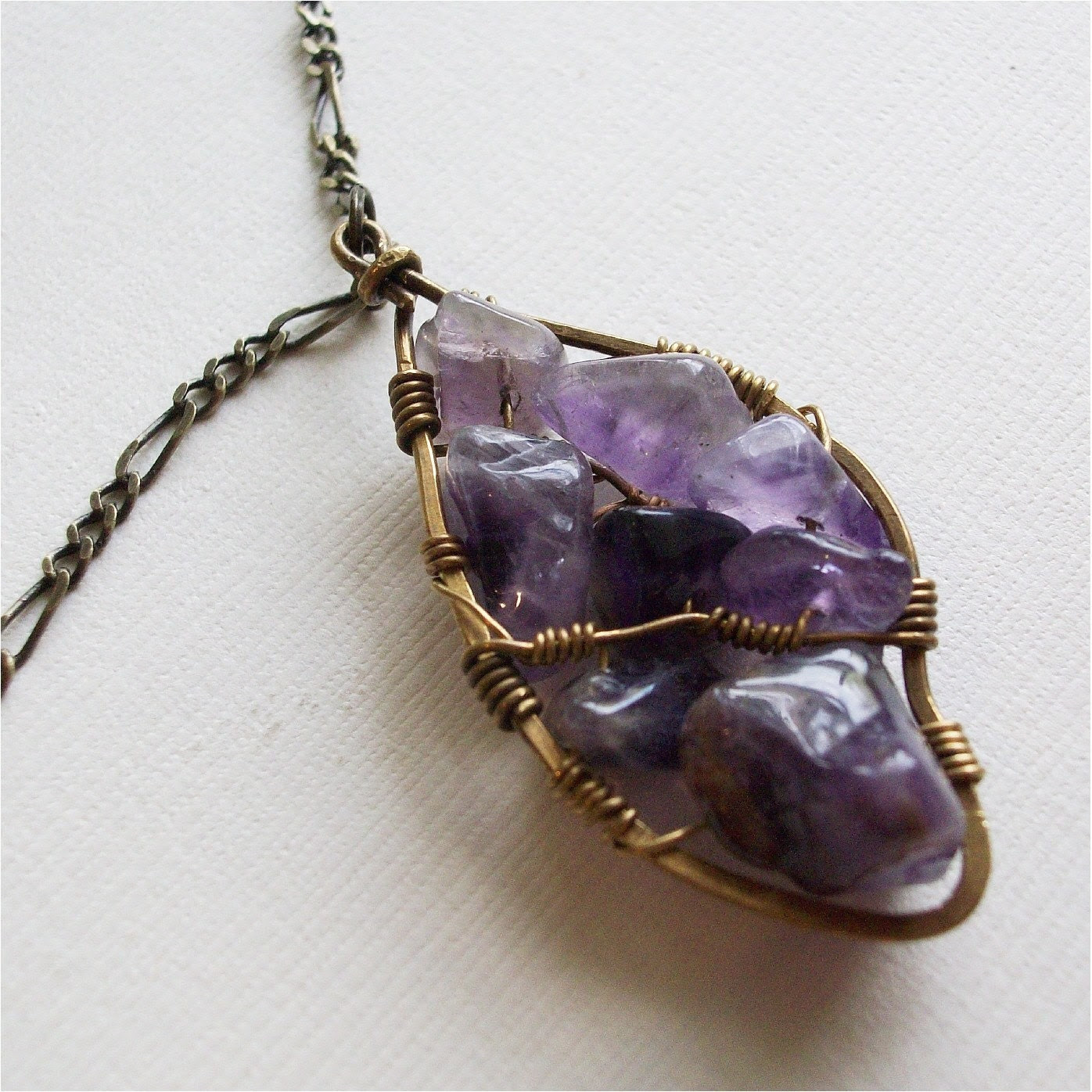 Purple Amethyst Leaf Necklace, handmade pendant on antiqued brass chain, FREE SHIPPING ETSY