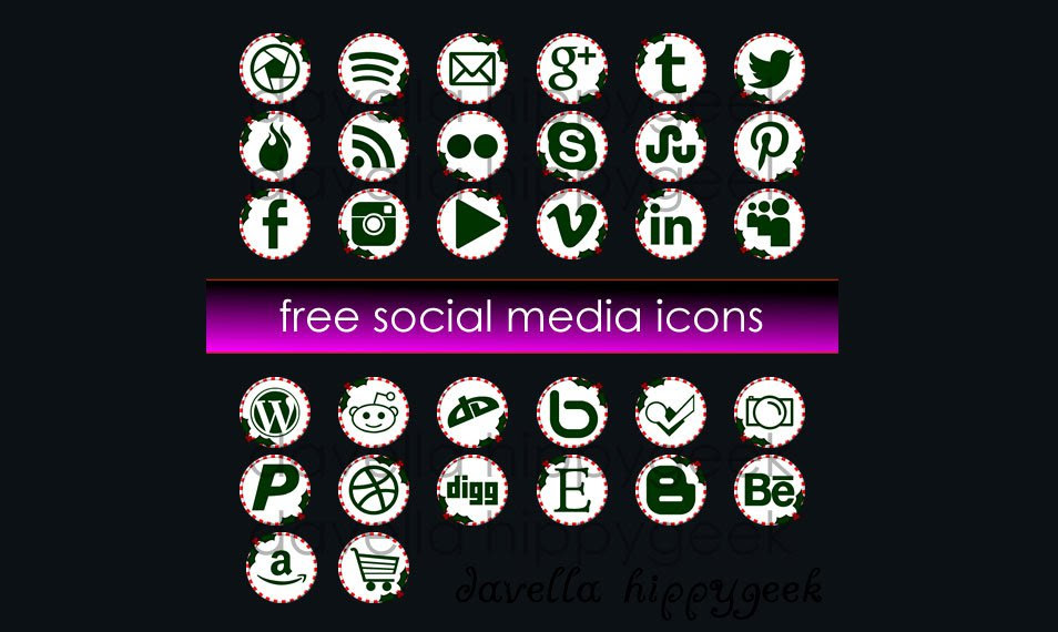 32 Free Christmas Candy-cane Social Media Icons