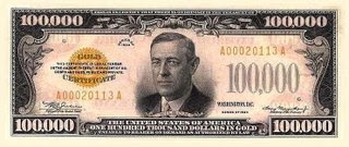 Woodrow Wilson, pictures on US $100,000 bill obverse (1934)