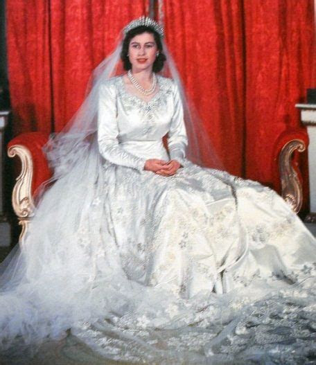 Princess Elizabeth's wedding gown which included 10,000