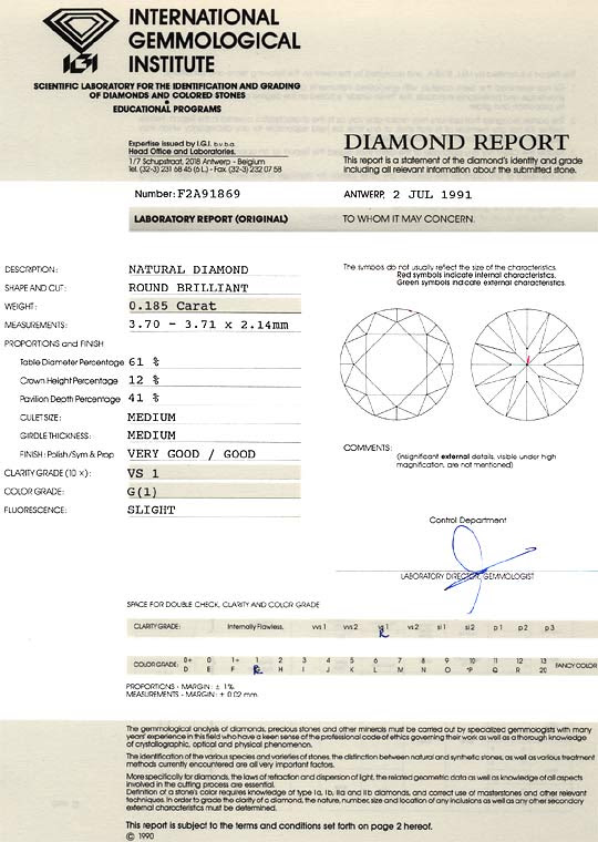 Foto 9, DIAMANT 0,185ct BRILLANT IGI-EXPTERISE TOP WESSELTON VS, D6181