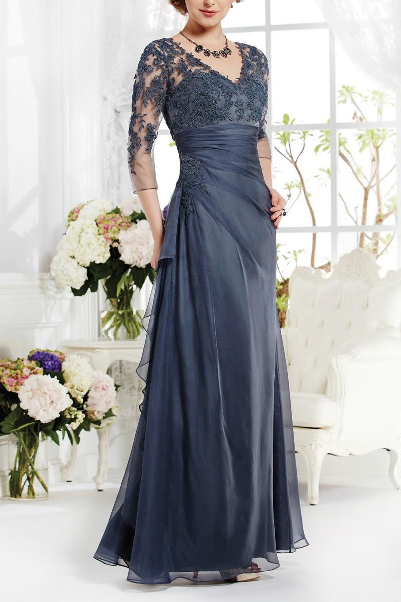 long navy blue elegant mother of the bride lace dresses