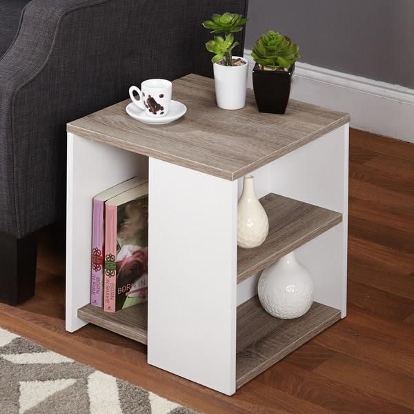 Display End Table Open Shelves Storage Living Room ...
