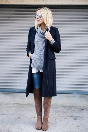 30 outfits that prove pinstripes are back - longline navy blue pinstripe blazer + over the knee suede boots