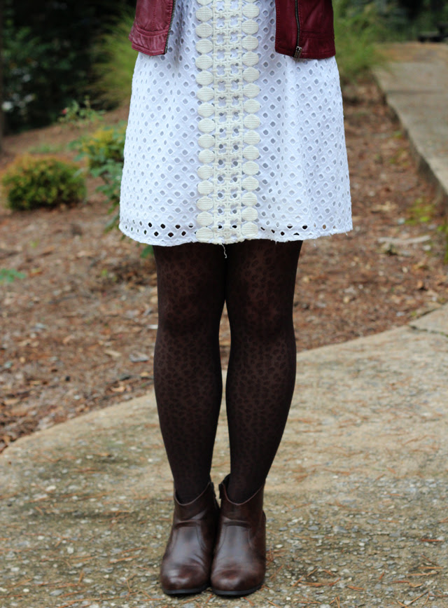White Eyelet, Leopard Tights, & Brown Boots