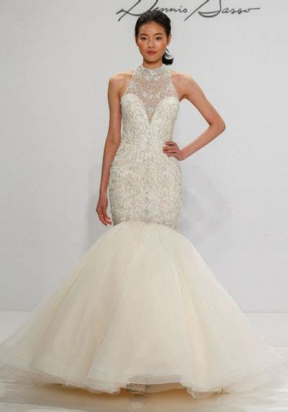 Beaded Halter Neckline Tulle Skirt Mermaid Wedding Dress