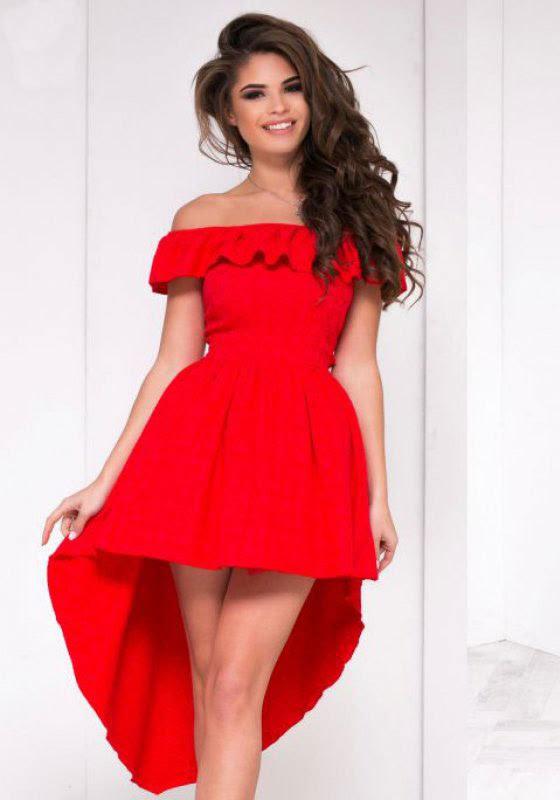 Off Shoulder Flounce Lace Plain Party Dresses500Luvyle IncLV