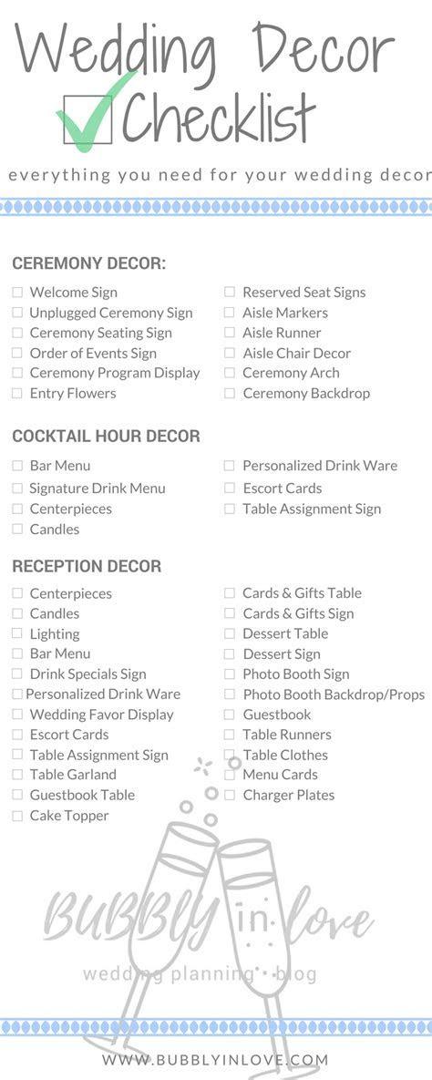 wedding reception decoration checklist