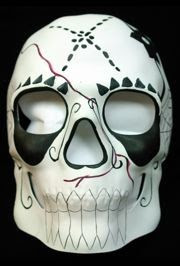 Day Of The Dead Full Skull Face Masquerade Mask With Black And Red