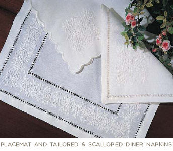 Sferra Table Linens . French Knot Table Linen . Hand Embroidered