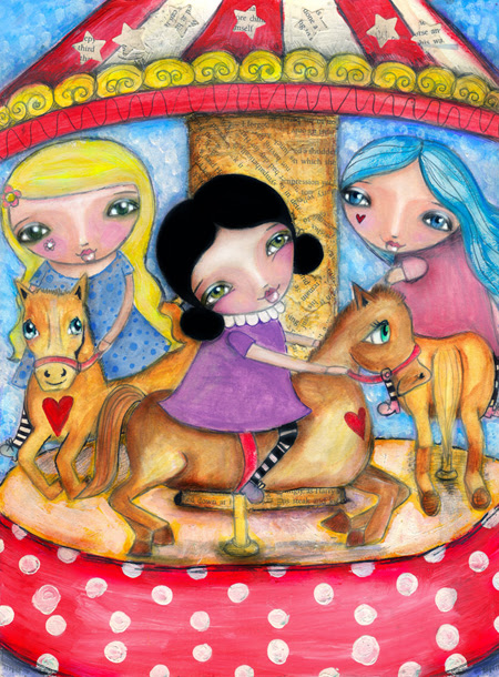 julie, sophie and lucy on a carousel