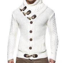 Vintage Sweater Cardigan Men Winter Warm  Knitting Tricot Jumper Horns Buckle