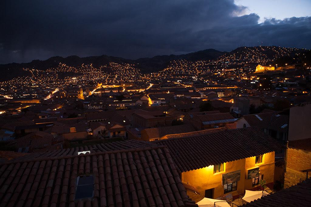 Night view of Cusco, Peru