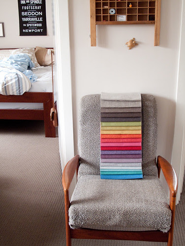 upholstery swatches for covering armchair
