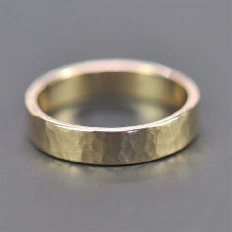 Mens 14K Yellow Gold Wedding Band, 5mm Hammered Gold Ring