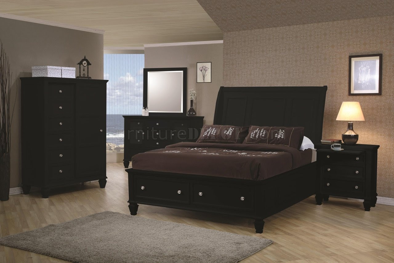 Black Finish Transitional Bedroom w/Storage Bed & Options