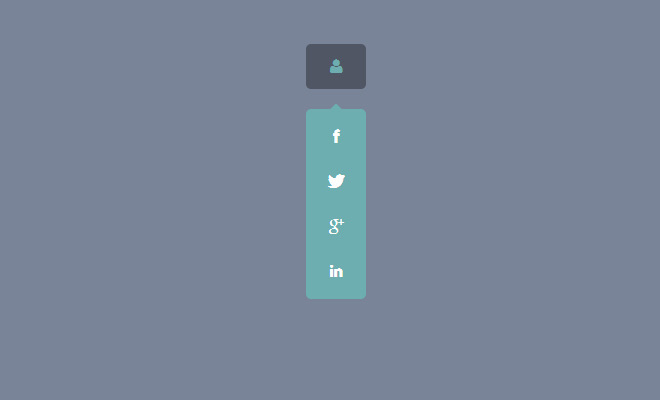 vertical dropdown social icons navigation