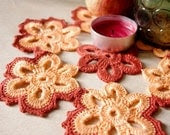 Crochet doily from flowers - Handcrocheted doilies - Peach and maroon cotton lace flower doilies - Edangra