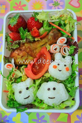 Indonesian fried chicken bento