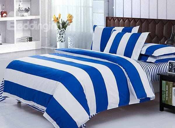 Blue And White Stripe Pattern 4-Piece Polyester Duvet ...