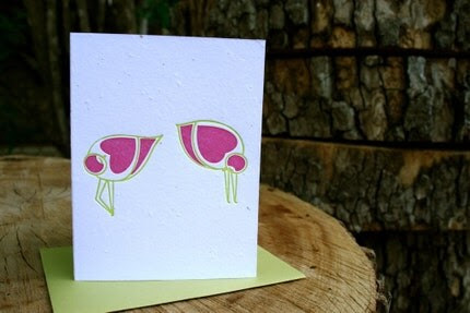 Shy love - letterpress plantable card