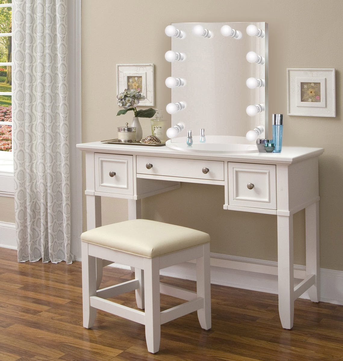 "Nashville 36"" White Makeup Vanity Table and Chair - Glam ..."