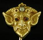 Pan with diamond stickpin. (J9065)