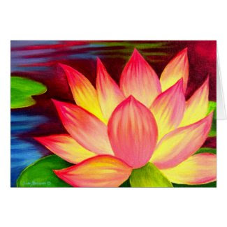 Chinese Lotus Water Lily Flower Art - Multi card