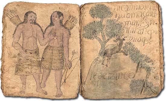 Don Andrés azték jegyző: Techialoyani birtokkönyv nahuatl nyelven (17. század) (Mexikó)