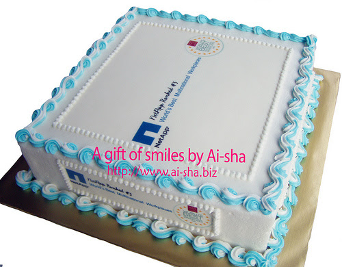 Cake with Edible Image NetApp Company Logo
