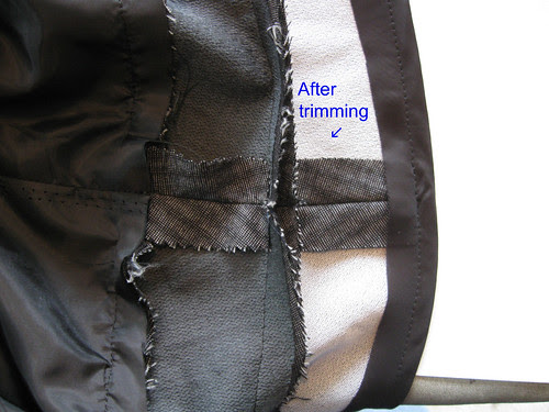 Grey pants seam after trimming