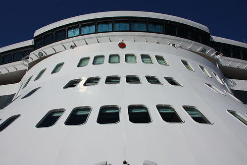 Looking up at the Bridge on the QM2