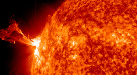 A long duration, moderate, solar flare reaching M1.3 peaked at 16:53 UTC on May 3,  2013.  The source of the event was Region 1731 still classified as Beta-Gamma-Delta and capable of more strong eruptions. This region has rotated out of the Sun's central disk area toward western limb. Before that event ended an impulsive and strong M5.7 solar flare erupted and peaked at 17:32 UTC. The source is probably old Region 1719  located on the Sun's eastern limb. A Type II radio emission was associated with the event which typically indicates Coronal Mass Ejection (CME) . If CME was generated it should not be Earth directed. NOAA SWPC forecasters...