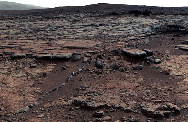 An image of Yellowknife Bay at Gale Crater on Mars, taken by NASA's Curiosity rover on December 24, 2012.