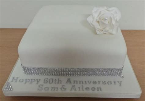 Smooth square 60th wedding anniversary cake with white